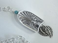 Silverware Necklace, Spoon Jewelry, Silverware Jewelry, Silver Bell, Filigree Leaves - 1939 RADIANCE. $16.25, via Etsy.