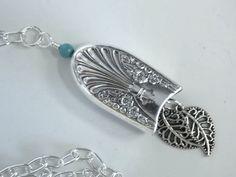 Silverware Necklace, Spoon Jewelry, Silverware Jewelry, Silver Bell, Filigree Leaves - 1939 RADIANCE. $16.25, via Etsy.