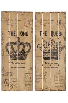 King & Queen Wall Decor - Set of 2