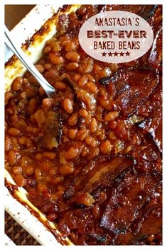 BEST-EVER BAKED BEANS!! These are a must-have at family barbecues. SO stinkin' good! The perfect side dish for so many meals, potlucks, picnics and barbecues. Simple to make, so good. One of my sister's most requested recipes! #BestBakedBeans #Recipe #SideDish #Barbecue