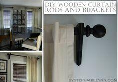 Make Your Own Wooden Ball Curtain Rod Set with Brackets - DIY Drapery Hardware - bystephanielynn