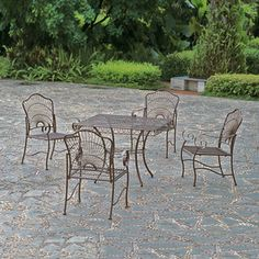 International Caravan�5-Piece Wrought Iron Patio Dining Set