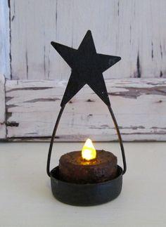 Primitive Star Tealight Candle Holder