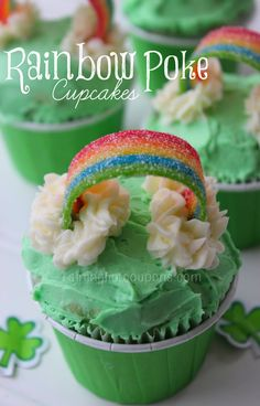 Rainbow Poke Cupcakes ~ St.Patrick's Day ideas diy craft tutorial #cupcakes #cupcakeideas #cupcakerecipes #food #yummy #sweet #delicious #cupcake