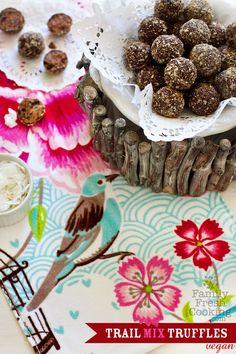 Skinny Dark Chocolate Trail Mix Truffles | recipe on FamilyFreshCooking.com #Paleo