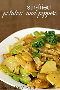 Stir-Fried Potatoes and Peppers from SixSistersStuff.com -