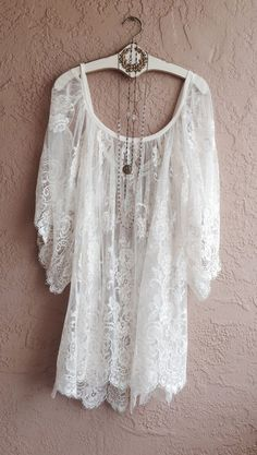 Sheer Embroidered White Lace Off shoulder Cape
