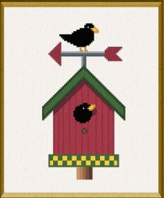 Country Birdhouse Free Cross Stitch Pattern