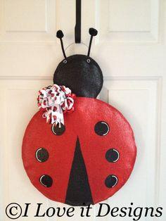 Ladybug Burlap Door Hanger by ILoveItDesigns on Etsy, $30.00