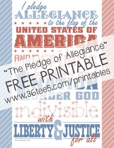 """FREE Printable of """"The Pledge of Allegiance"""" by http://36tee5.com. Would make a great back-to-school teacher gift!"""