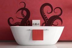 Vinyl Wall Decal Sticker - Octopus in bath!