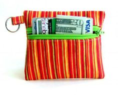 Change Purse, Coin Purse, Keychain, Business Card Holder - Bright Stripes by UnexpectedTreasure for $10.00