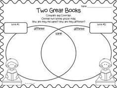 This fun FREEBIE would be great for your school's reading week, Read Across America, or any time of the year. Students can compare/contrast and write about books they've read.