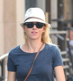 Naomi Watts casual hat hairstyle