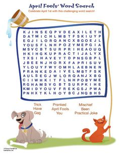 April Fools' Word Search Pinned by #PediaStaff.  Visit http://ht.ly/63sNt for all our pediatric therapy pins