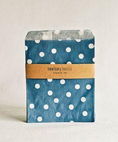 Navy Blue Polka Dot Paper Bags