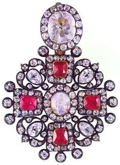 Neck Badge of the order of ST. ANNE  LOUIS-DAVID and  JACOB-DAVID DUVAL, St Petersburg, CIRCA 1760  Gold, Silver, diamonds, rubies