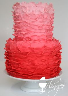 Ruffled Pink Ombre Cake