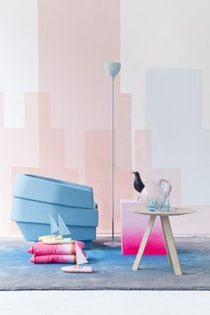 Neon pink and pastel blue.