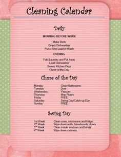 cleaning calendar, cleaning lists, dream, working moms, working girls, chore list, cleaning schedules, hous, chore charts