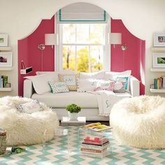 Pb teen dream home pink chevron girly room girl nook reading nook