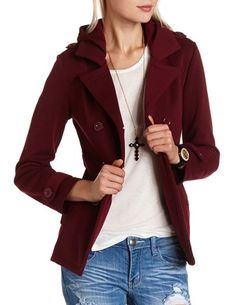 Double Breasted Fleece Coat: Charlotte Russe