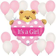 Girl Teddy Bear - Baby Shower Balloon Kit | BigDotOfHappiness.com #BigDot #HappyDot