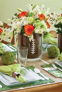 Game Day With the Girls Super cute football table decor from Cooking with Paula Deen