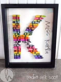 Teacher gift - Framed Crayon Letters