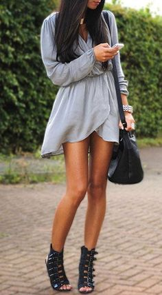 long sleeve wrap dress with gladiator heels