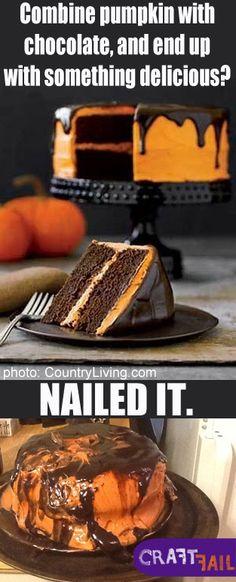 chocolate pumpkin cake NAILED IT