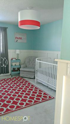 Red and aqua #nursery with white board and batten #DIY