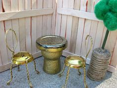 DIY dolls house furniture/accessories - garden furniture.  Better get some fizzy wine in.