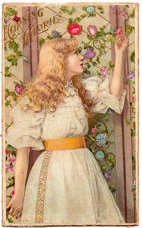 Morning Glories || #print #vintage #postcard #girl #floral
