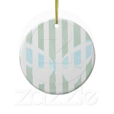 Green Stripes Butterfly Christmas Ornament