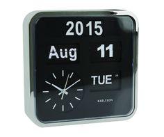 Modern Black/Silver Flipping Calendar Clock