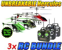 Hercules, Glow in the Dark Hercules, and Camo Hercules Unbreakable 3.5CH RC Helicopter Bundle