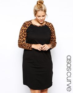 ASOS CURVE Exclusive Dress With Leopard Raglan