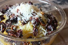 "Autumn Harvest ""Pasta"" - spaghetti squash with capers, sun-dried tomatoes, artichoke hearts, parmesan, garlic"