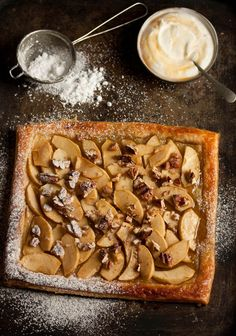 easy apple tart with maple syrup and pecans