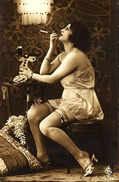 Pre-party smoke in my teddy and garters.