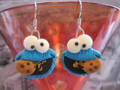 Cookie Handmade Fimo Earrings with glow in the dark eyes