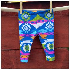 Blue Navajo leggings, baby leggings, printed leggings, unisex leggings, black and white leggings