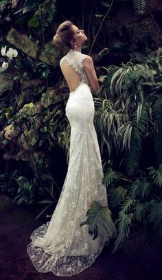 lace wedding dress with an open back