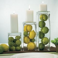 This beautiful small square shaped glass vase can be used in many different ways to create a breath taking centerpiece for your wedding. Place the vases upside down with candles on the top as shown in the photo and place fruit inside to create this beautiful candle centerpiece. The vases can also be filled with water or water beads and used with floating candles, the options are endless