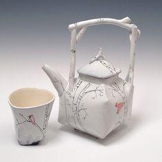 White Birch Tea Pot and Tea Tumbler  with Red Bird Josie Jurczenia
