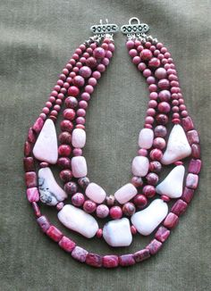 Chunky  Rose Pink Fuschia Honeysuckle Layered Multi Strand necklace Boom Boom Pow. $143.00, via Etsy.