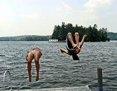 Wheeee ...! #outdoors #lake #cabin #dock #summers