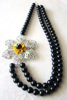 Black Pearl Necklace, Beaded Jewelry, Silver Flower Necklace, Vintage Bridal Jewelry. $43.00, via Etsy.