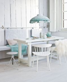 decor, dining rooms, interior, pastel, dining room walls, blue, beach hous, white, live